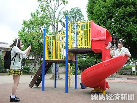 公園での撮影の様子