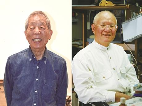 画家・野見山暁治さん(左)、漫画家・ちばてつやさん