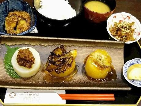 和風レストラン「かど36」の練馬大根三種盛ご膳(900円)