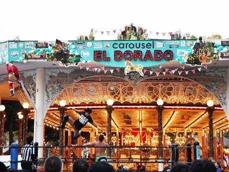 回転木馬「カルーセルエルドラド」前に設置された特設リング