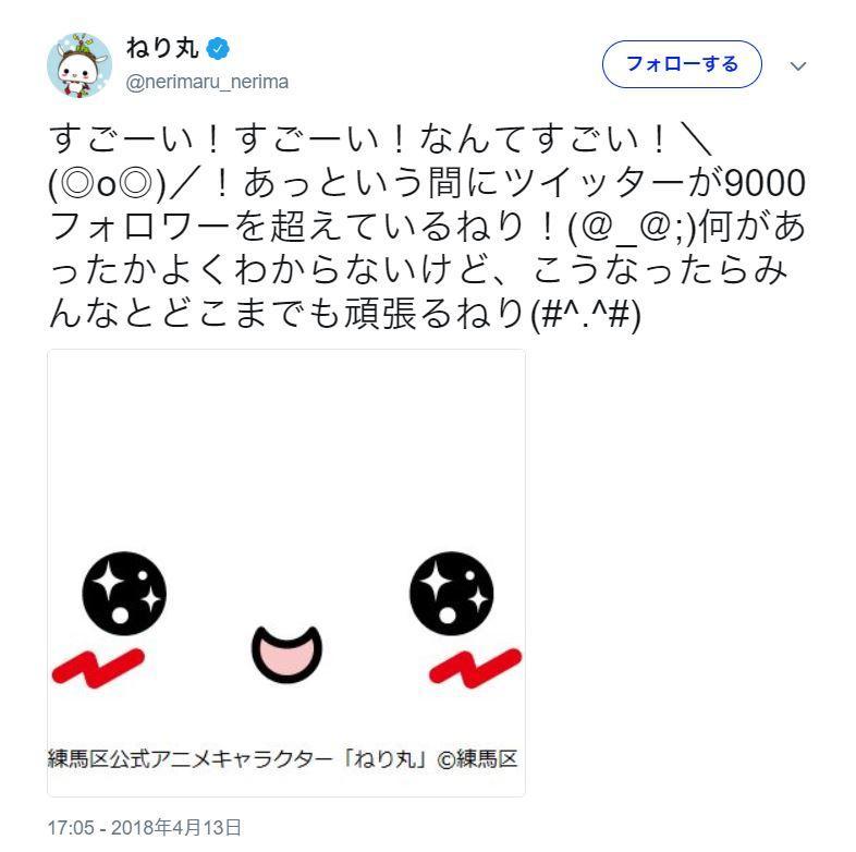 フォロワー9000人を超えたときのツイート(4月13日)