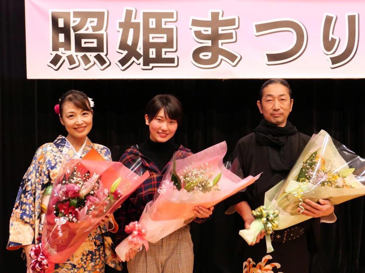 今年選ばれた主役3役。左から河上知子さん、秋元美穂さん、高嶋聡さん