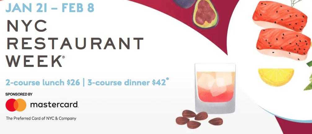 期間中はランチ26ドル、ディナー42ドルのコース料理が楽しめる