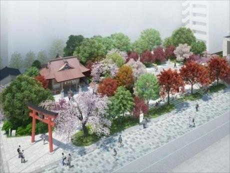 四季折々の木々が楽しめる日本橋と真ん中の「福徳の森」
