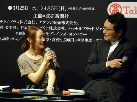 写真展も開いた事のある上村愛子さん。遠藤さんと写真談義に花が咲く。