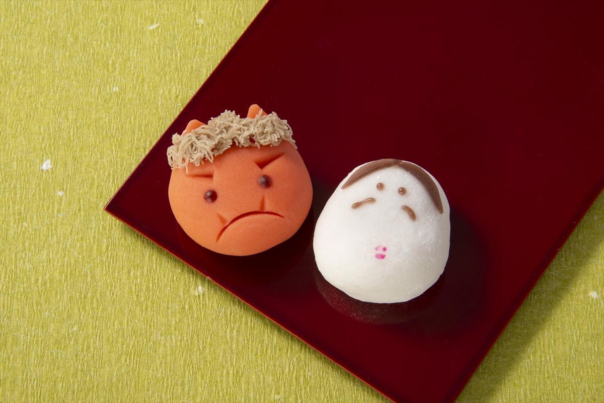 人形町に本店を置く「三原堂本店グランスタ店」の鬼の練切と雪平のおかめをセットにした「節分上生菓子」