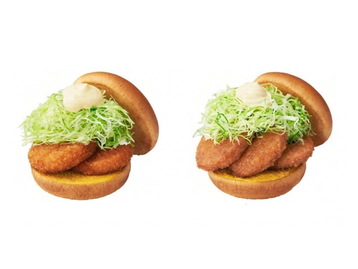 タレカツバーガー レギュラー(左)と大盛り(右)
