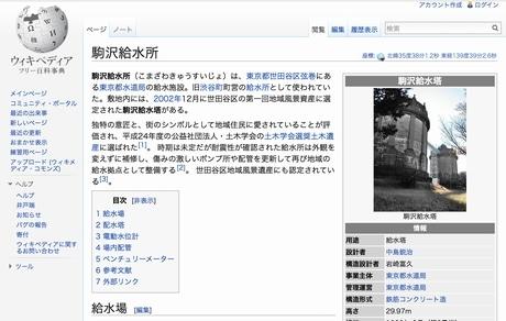 前回作成・編集したページ(ウィキペディア「駒沢給水所」)