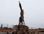 二子玉川で「どんど焼き」 高さ15メートルのやぐら囲み、焼き餅振る舞いも