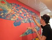 二子玉川の保育園でアートプログラム 屋内の壁に季節を表現