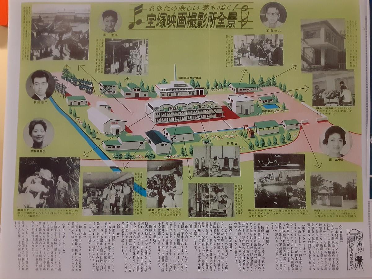 会場で展示された、宝塚映画撮影所の完成時のリーフレット