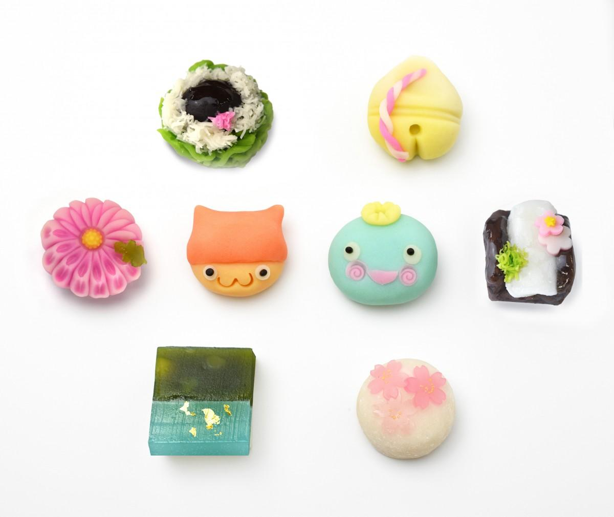 西宮をイメージして作られた冬仕様の上生菓子8種類