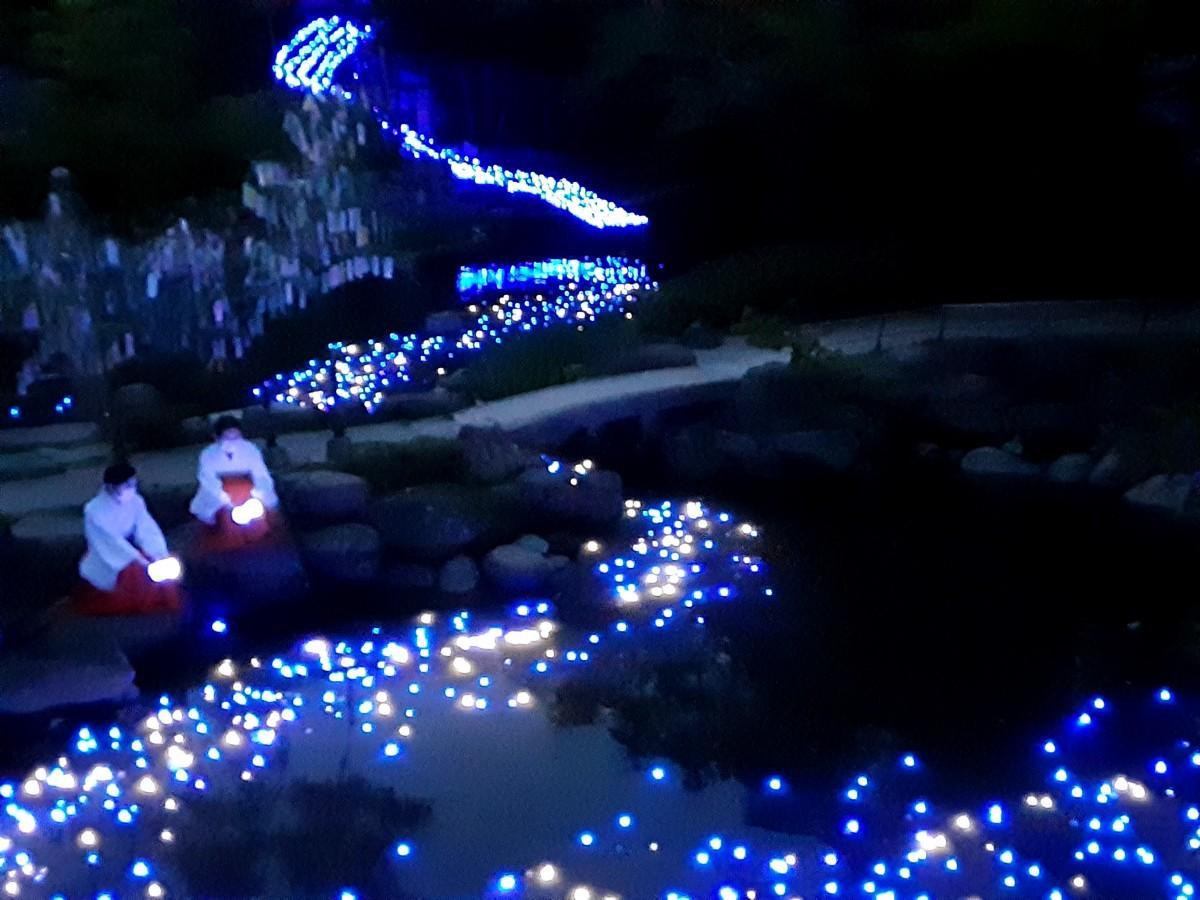 西宮神社で7月6日夜、2年ぶりに再開される「七夕天の川」の試験点灯が行われた。