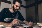 アメリカ人水墨画家、青梅の寺で初個展 「生き物の呼吸、感じてもらえれば」