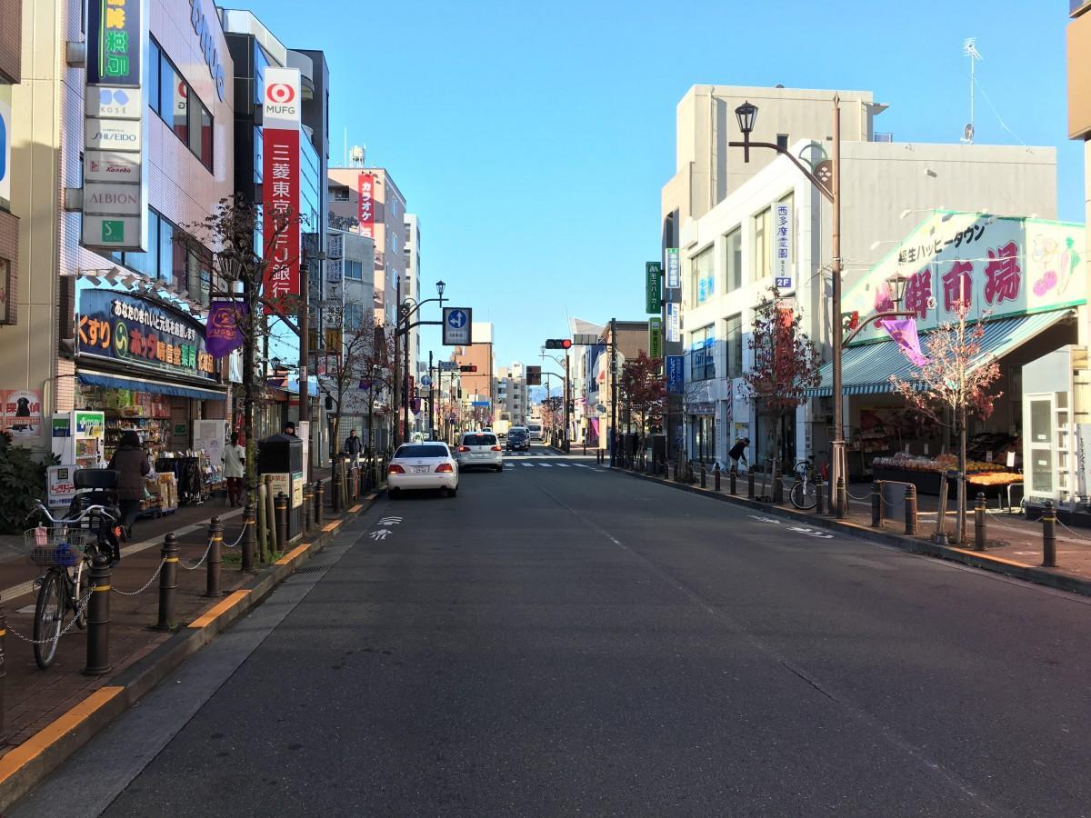 店舗が立ち並ぶ福生駅西口