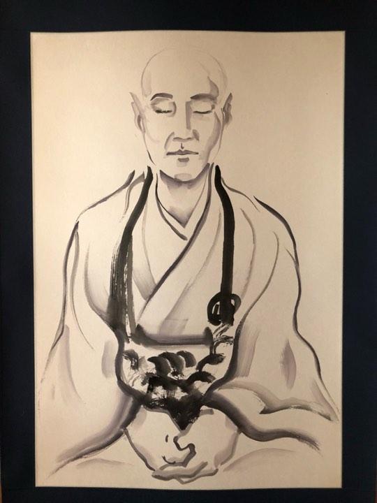 展示される僧侶を描いた掛け軸