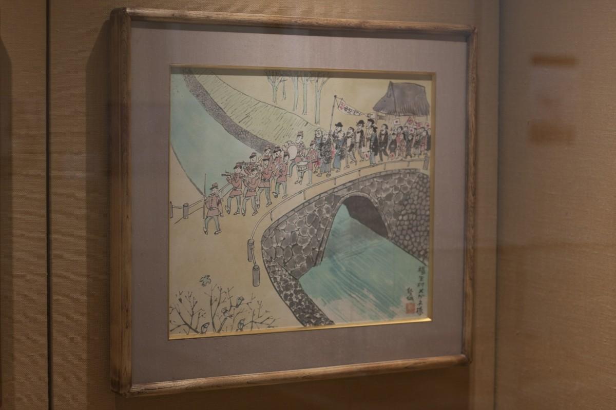 明治10年のパレードの様子を描いた「福生村眼鏡橋」