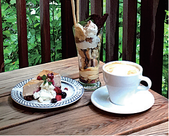 ペット同伴可能なテラス席。ストロベリーチーズケーキ(左)、 チョコバナナパフェなどのスイーツも充実している