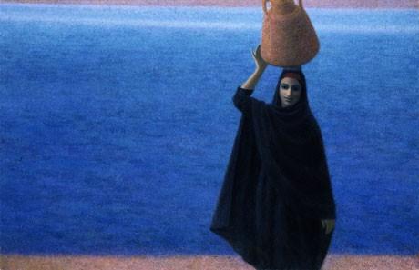 「水」杉山寧 1965(昭和40)年 麻布彩色/額装 147.3×227.3