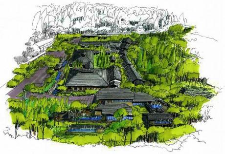 「箱根湯寮(はこねゆりょう)」の全体パース