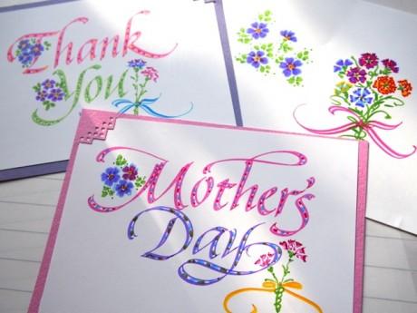 「母の日のためのカリグラフィーレッスン~サンキューカードの制作・マーカーで描くカーネーション~」