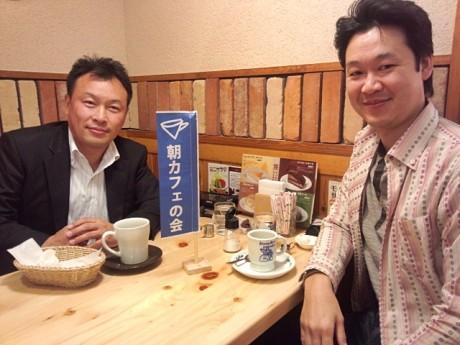 小田原の「朝カフェの会」を推進する山中弘人さん(左)と長尾影正さん(右)