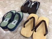 小田原の靴店、夏向け雪駄・草履・げた店頭に 城下町に和の履物で