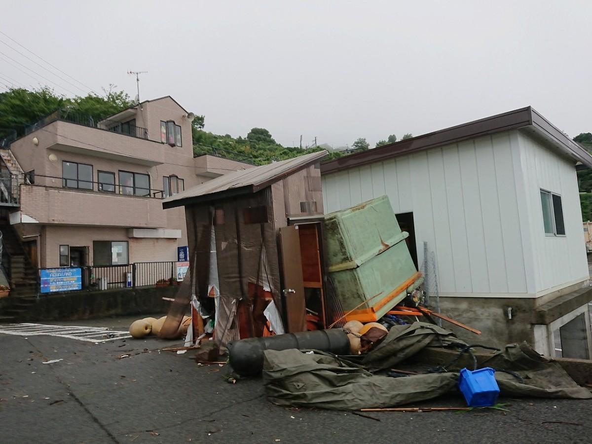 2度の台風で被害を受けた「江之浦ダイビングサービス アクアランド」