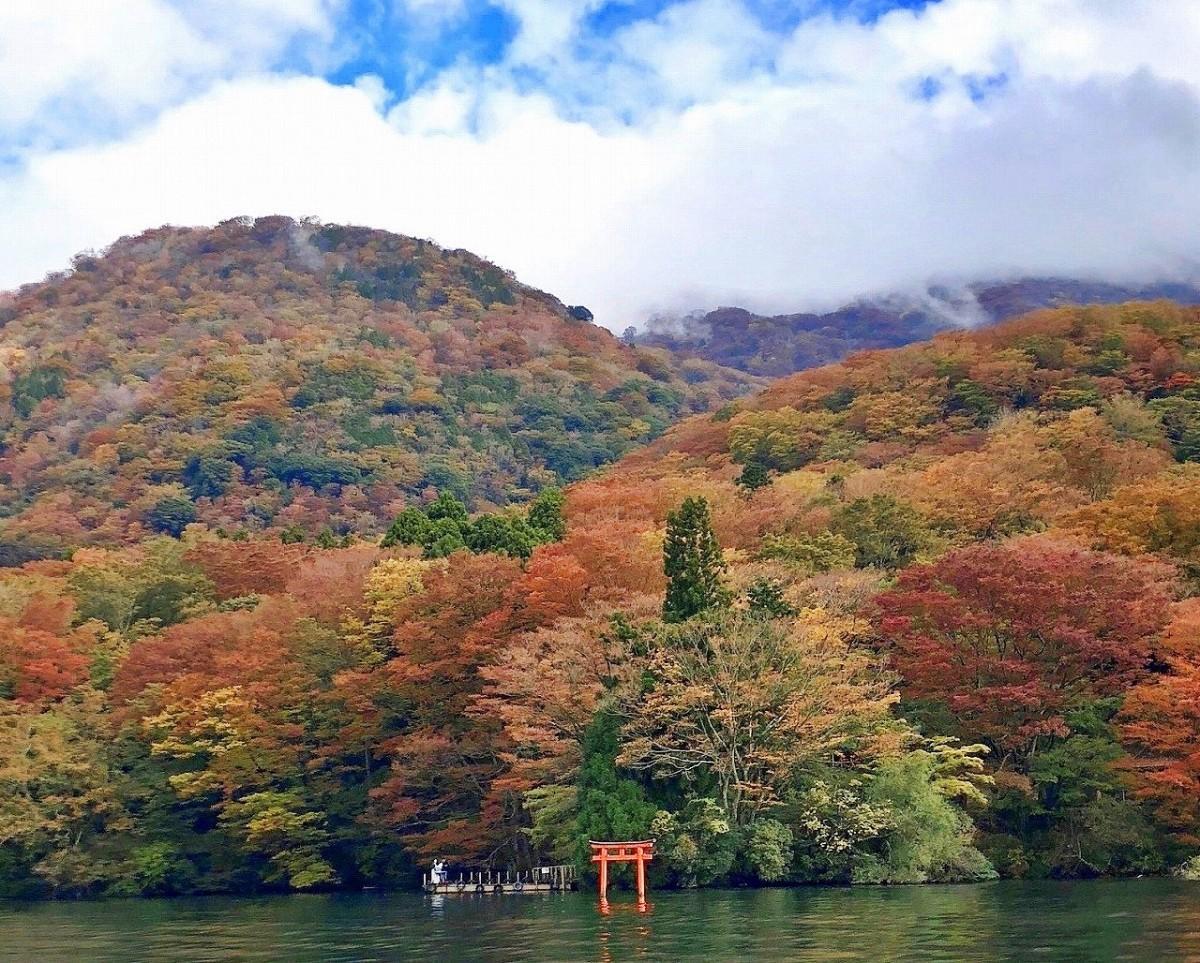 箱根神社(九頭龍神社)の水中鳥居と箱根外輪山最高峰の「神山」