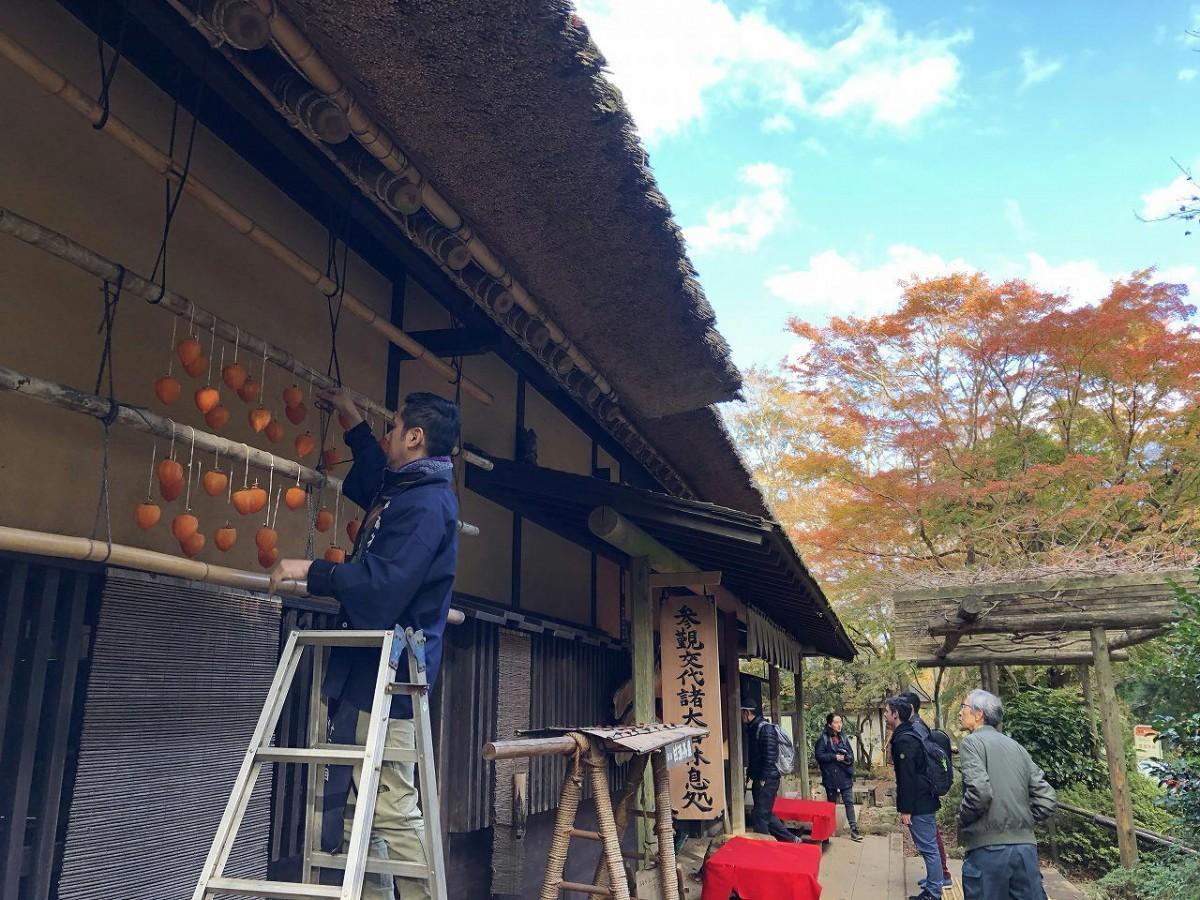 甘酒茶屋で初冬の風物詩「つるし柿」。かやぶき屋根によく似合う。後方には「参覲交代諸大名休息処」の看板
