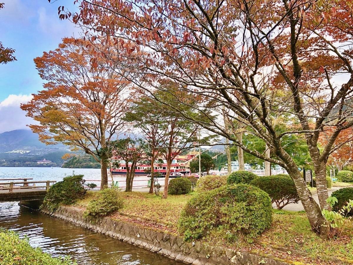 芦ノ湖畔の紅葉の様子(箱根町港)