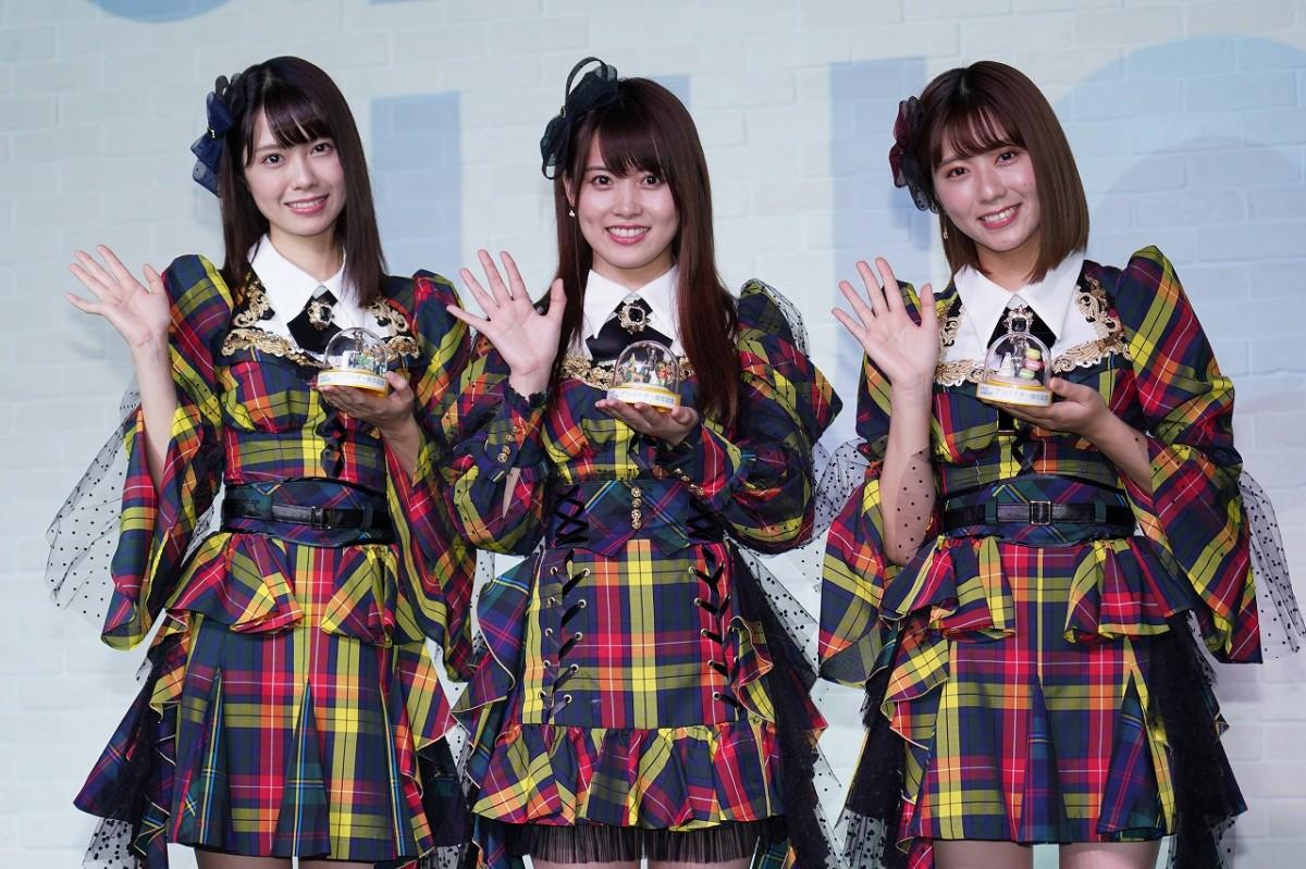 「AKB48」チーム8の(左から)小田えりなさん、岡部麟さん、清水麻璃亜さん