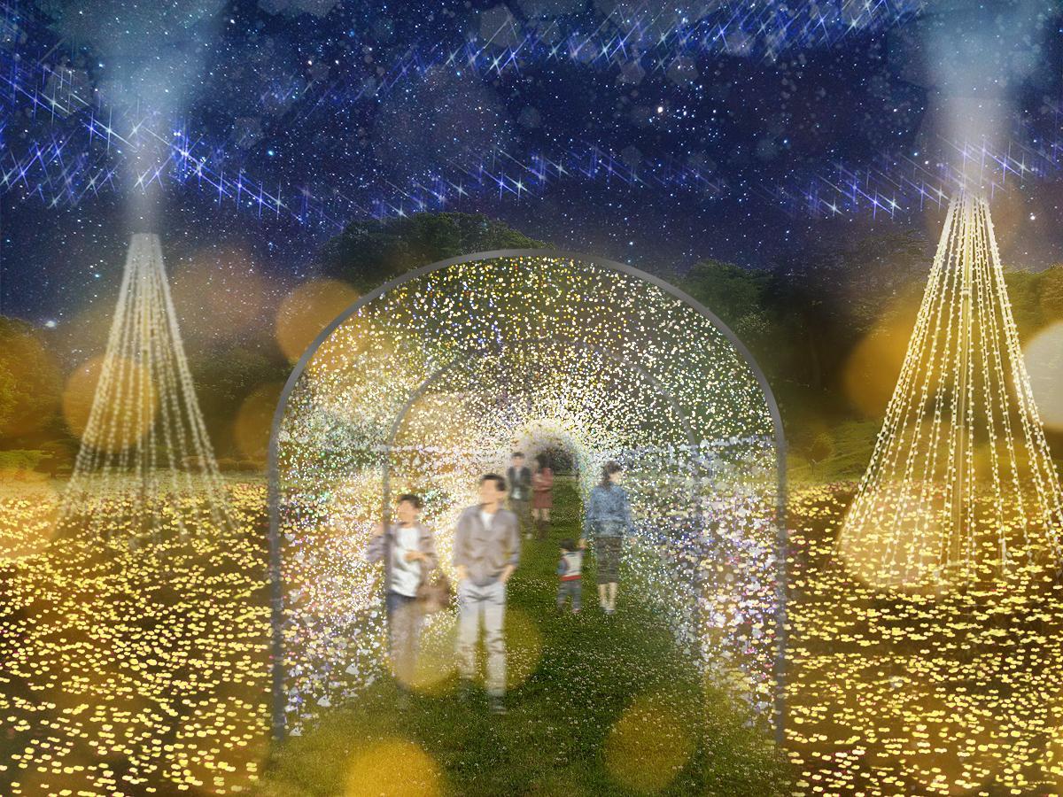 豊臣秀吉の華やかで豪快な世界観を黄金色のイルミネーションで演出する