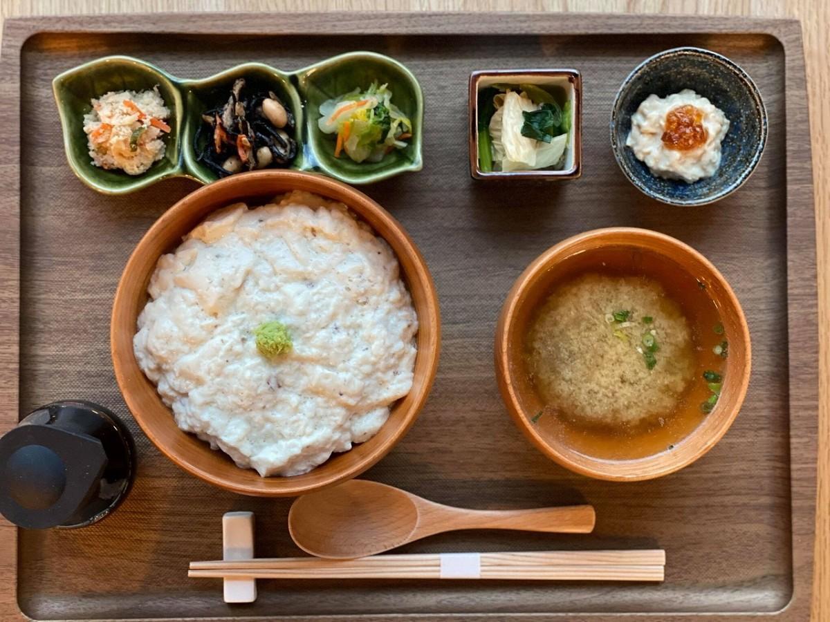 「自然薯とうふ丼御膳~特別~」(1,500円)には、自然薯どうふ、味噌汁、惣菜2品、漬物、引上げ湯葉の構成
