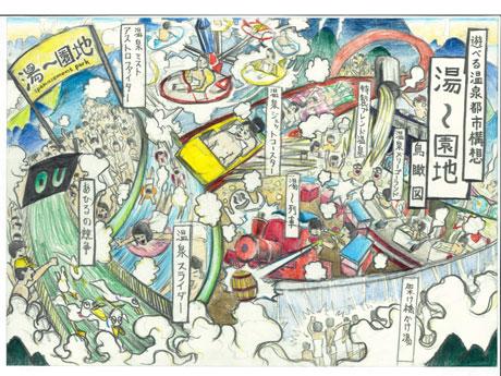 遊べる温泉郡都市構想「湯~園地」イラスト