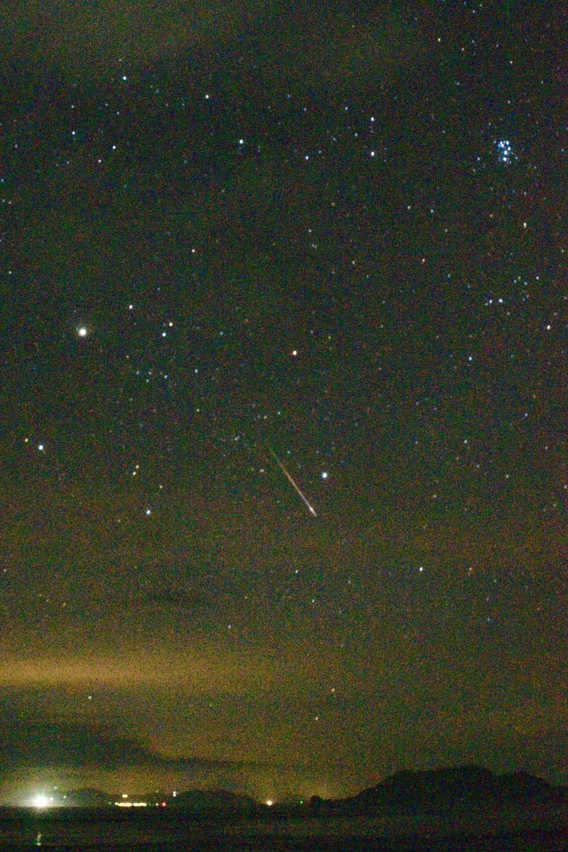 居並ぶ星座の中を流れる「ペルセウス座流星群」(13日2時30分撮影・30秒露光)