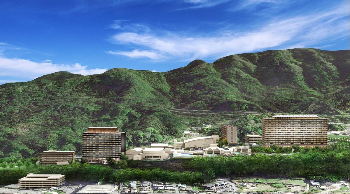 右から新客室棟2、新立体駐車場、新客室棟1、左から2番目が中館、3番目が新Hana館(完成予想図)