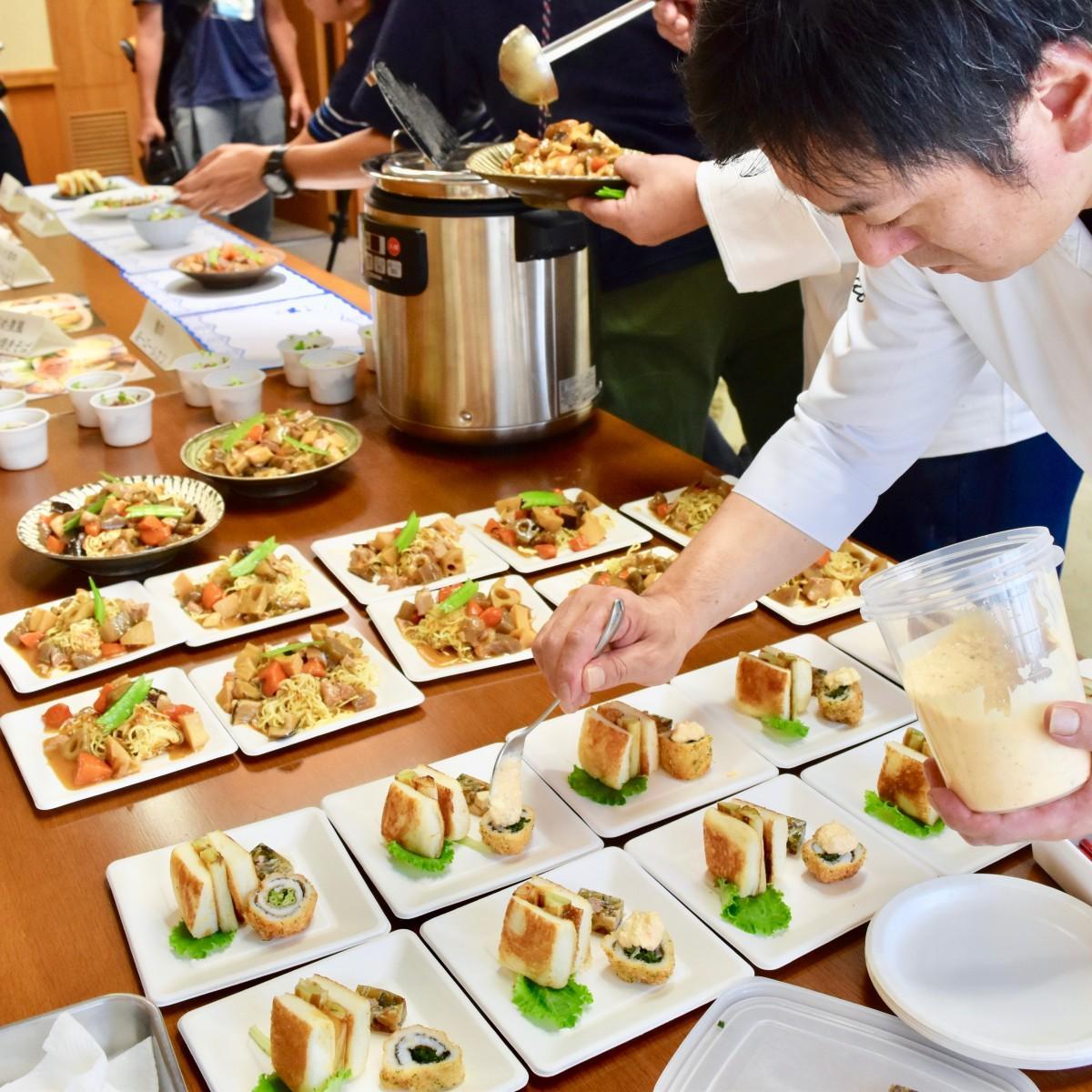 県庁で紹介された創作郷土料理「新しい大分を食べよう」