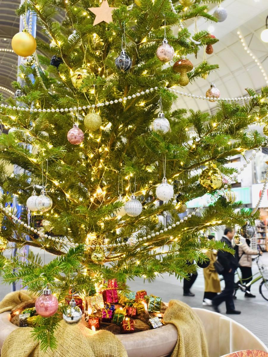 ガレリア竹町ドーム広場に設置されたプレゼント対象のツリー