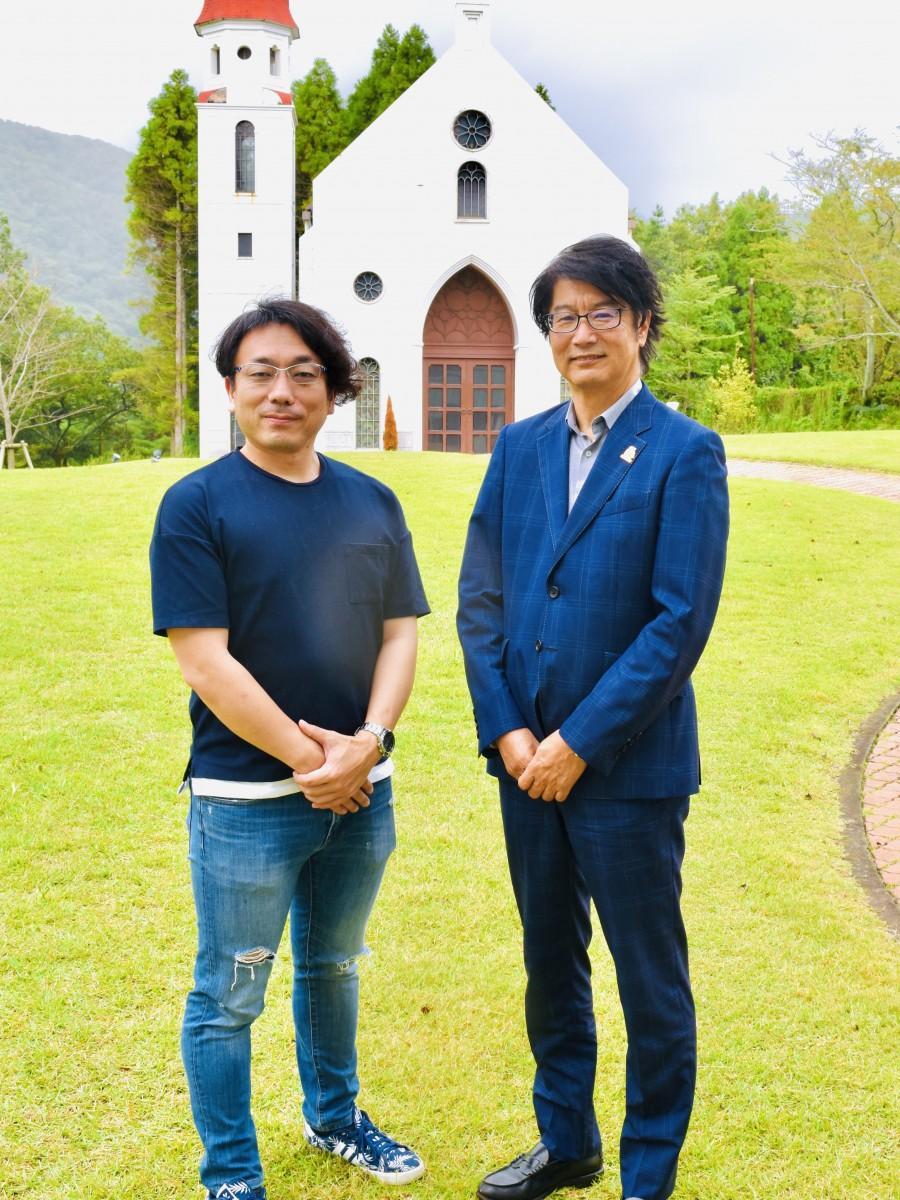 「別府おんせんLAN in 城島高原」を開く西村会長(左)と後藤社長
