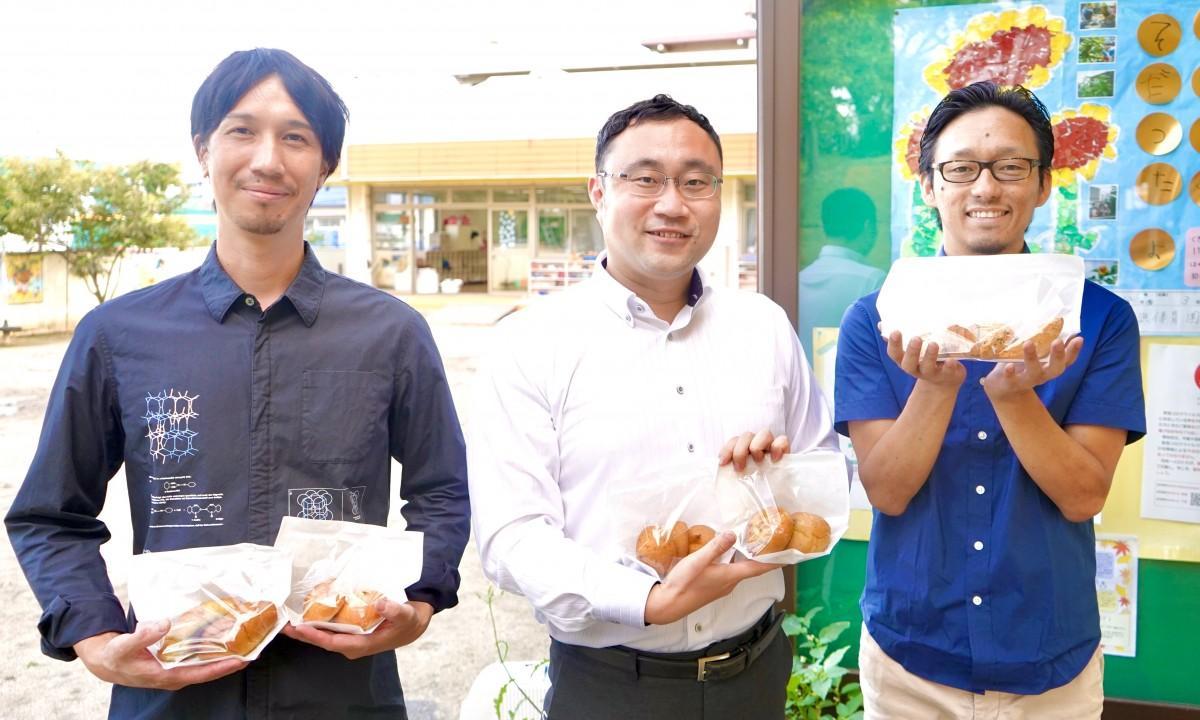 右から彌田さん、原口さん、南光物産の製造部・松尾周作さん