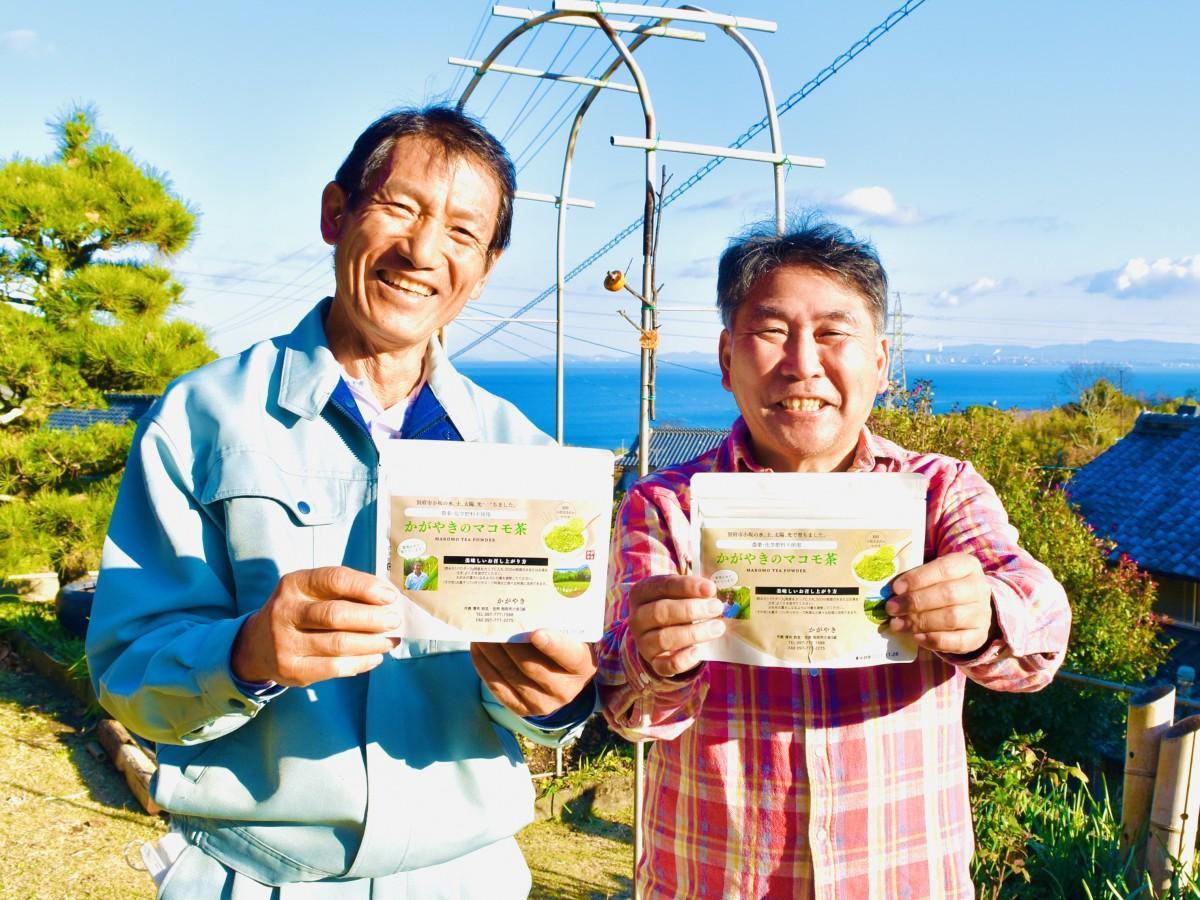 マコモ茶の販売を開始した澤井さん(左)と野田さん