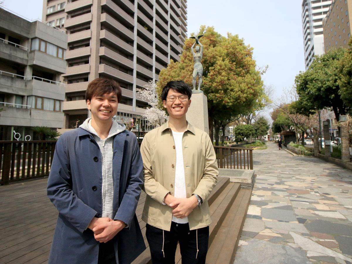 NPO法人タブララサの高岸遼さん(左)と佐方瑛二さん