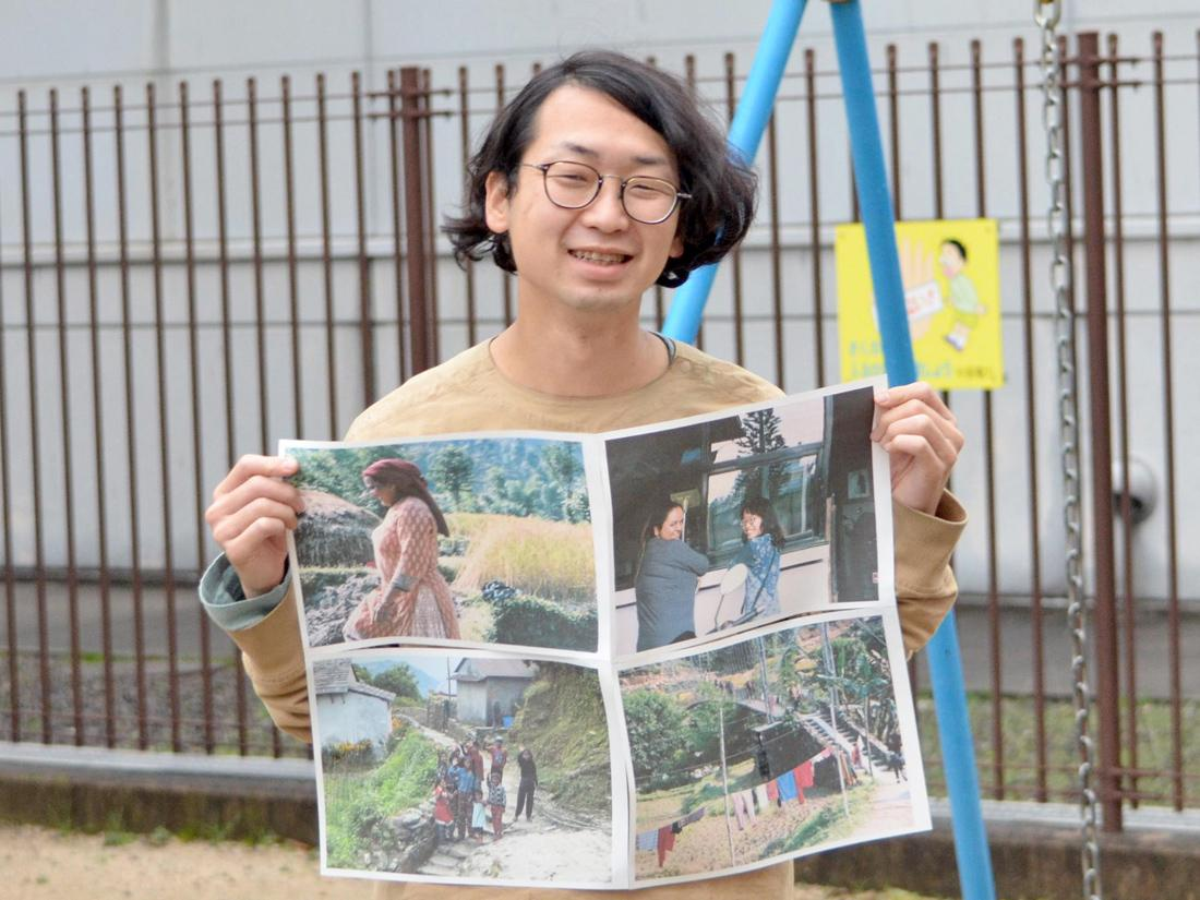 「ネパールの暮らしと人と~旅の写真と日記と絵~」へ来場を呼び掛ける杉原禎章さん