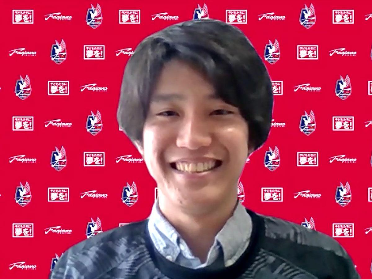 「第1回ファジアーノ岡山検定」を行うファジアーノ岡山・スタッフの大森仁嗣さん
