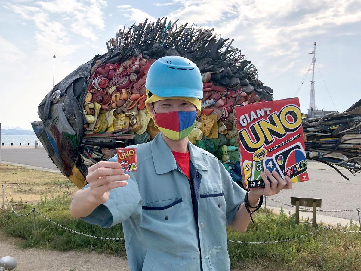 工事現場作業員の服装をした「UNO宇野2020 スペシャルエキシビジョンマッチ」のジャン・ジャックさん