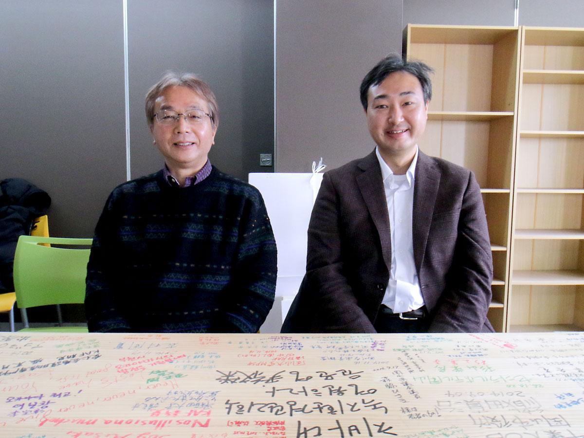 (左から)岡山大学地域総合研究センターの前田芳男教授と岩渕泰准教授