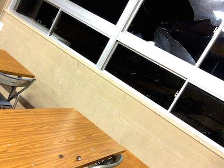 割れた窓ガラスと飛び散る羽毛