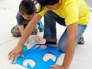 隠岐・知夫里島で「雨の日アート」ワークショップ 島のシンボル・タヌキ描いて