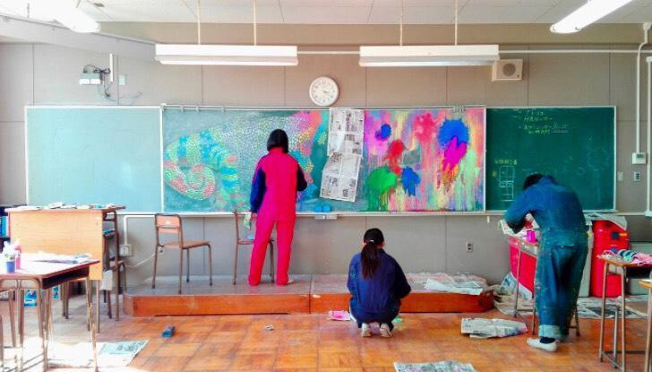 大宮光陵高校の学生 制作の様子